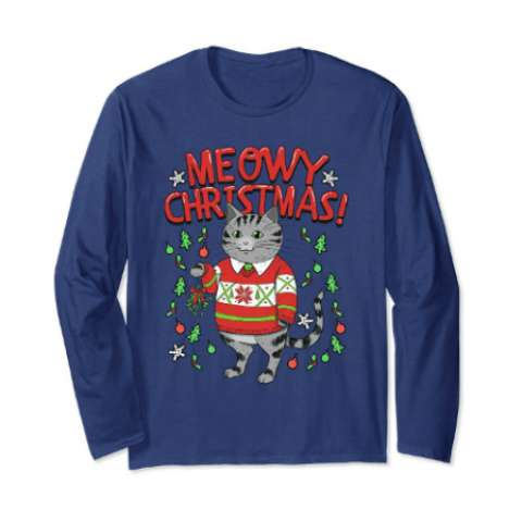 Meowy Christmas Cat Shirt Funny Cute Tee - Amazon Prime