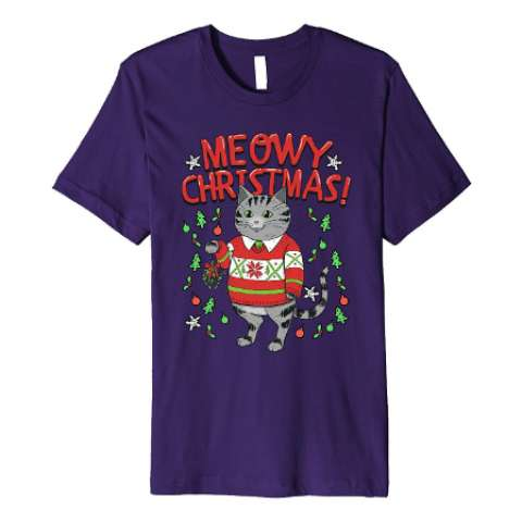 Meowy Christmas Cat T Shirt- Amazon Prime